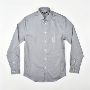DKNY Men's Slim Fit Grey Dress Shirt
